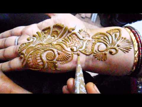 Mehandi Art From India-Beautiful Arabic Mehndi Design, Female With Full Hand Mehendi