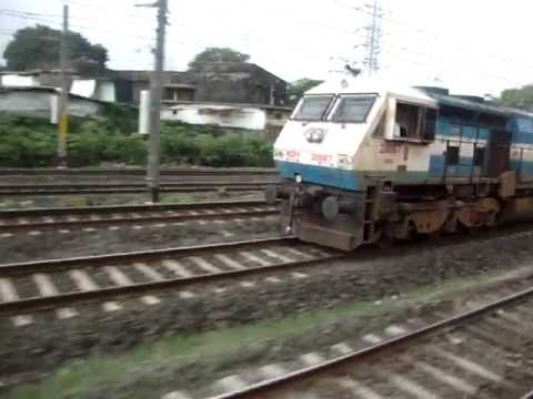 Indian Railways..Overtake by Mandovi express & a crossing with Nandigram express &  DC EMU