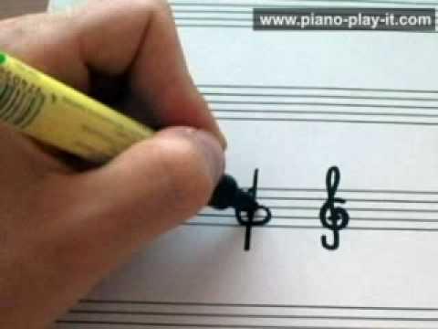 How to Draw a Treble Clef - A Free Beginner Piano Lesson (Music Theory lesson 8)