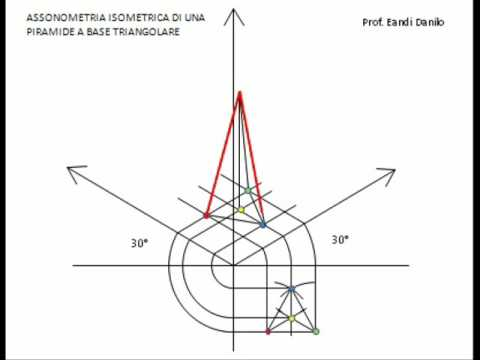 Assonometria isometrica piramide base triangolare