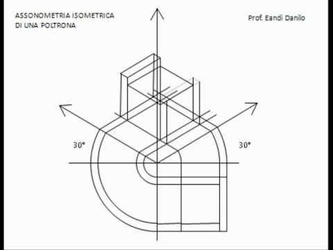 Assonometria isometrica di una poltrona