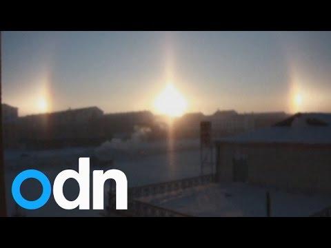 بالفيديو.... ظاهرة بصرية 3 شموس في منغوليا