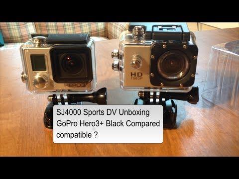 SJ4000 Sports DV unboxing GoPro Hero3 plus black compared Compatible ?