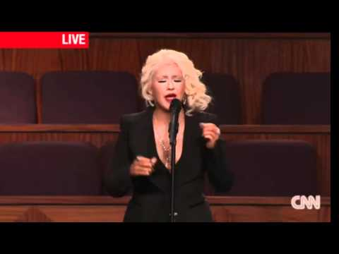 Christina Aguilera At Etta James Funeral