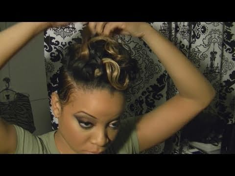 Rihanna! Styled Hair Tutorial With Blond (adding a track to short hair)