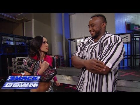 A frantic AJ Lee and her friend Big E Langston leave SmackDown in a hurry: SmackDown, July 5, 2013