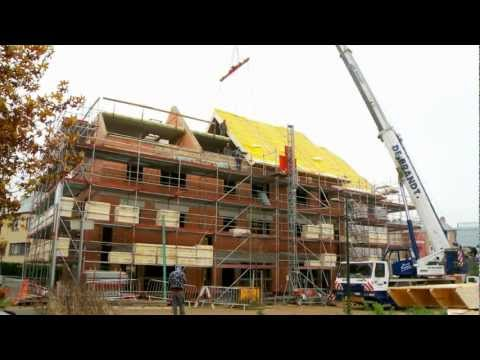 Polyurethane insulated roof installation on the Passive House, Evere, Belgium