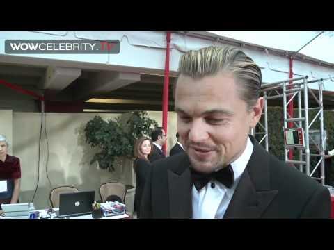 Leonardo Dicaprio wearing Armani interviewed at 2012 Golden Globes