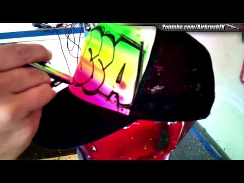 Pete V. How to Airbrush Block letter design on trucker hat.