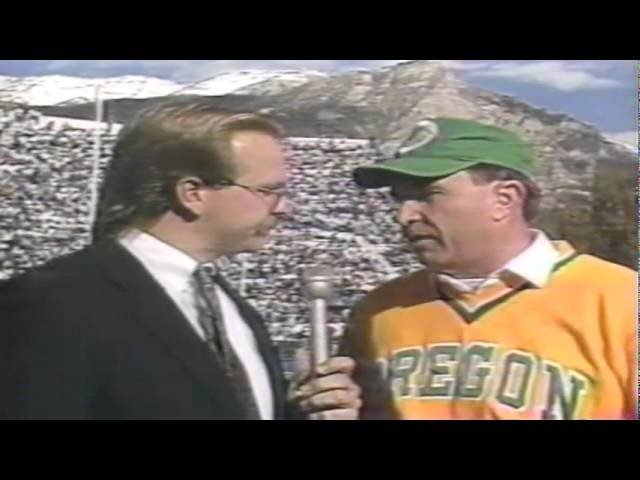 Oregon head coach Rich Brooks interviewed at halftime vs. BYU 11-04-1989
