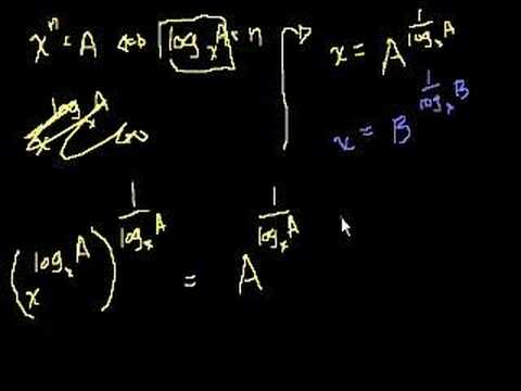 Proof: log_a (B) = (log_x (B))/(log_x (A))