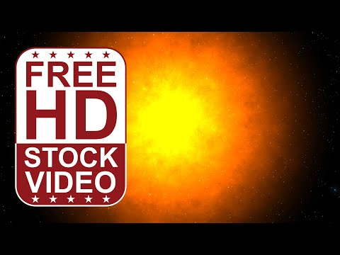 FREE HD video backgrounds – stars on night sky with burning sun 2D animation
