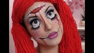 Creepy Rag Doll Halloween Makeup Tutorial - YouTube