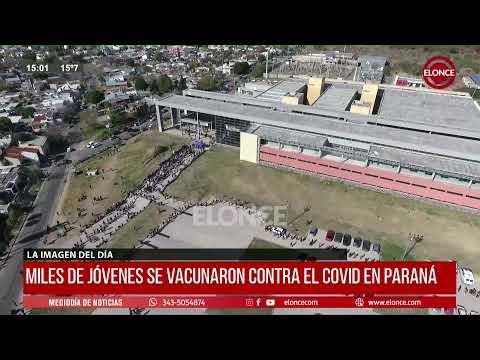 Video desde el drone: miles de jóvenes concurrieron a vacunarse contra el coronavirus