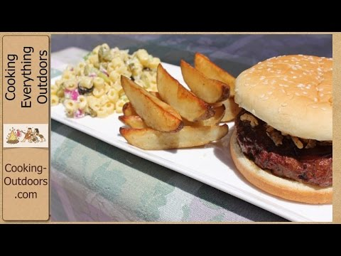 Cedar Plank Grilled BBQ Hamburgers, Spicy Steak Fries and a Macaroni Salad