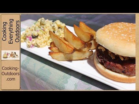 Cedar Plank Grilled BBQ Hamburgers, Spicy Steak Fries and a Macaroni Salad