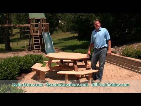 Red Cedar Octagon Walk-In Picnic Table from CedarStore.com