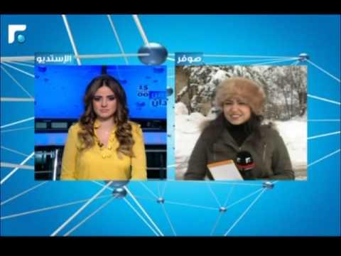 شاهد بالفيديو: مذيعة لبنانية ترتجف من البرد على الهواء مباشرة