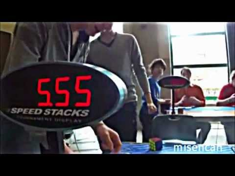 Rubik's cube world record: 5.55 seconds Mats Valk