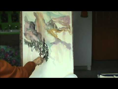 WATERCOLOR SEMI ABSTRACT MOUNTAIN PAINTING BY MILLIE GIFT SMITH
