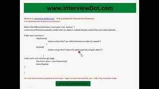 what is the difference between constructor and method core java interview questions and answers