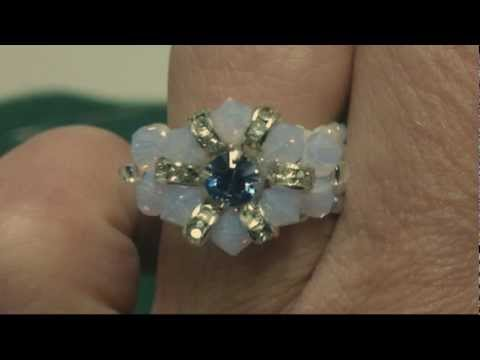 Beading4perfectionists : Swarovski beaded flower ring tutorial