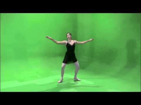 Shot of a ballerina dancing on a green screen.