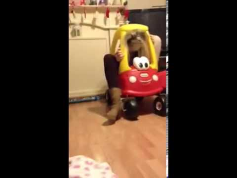 Girl gets trapped in kids fisher price car