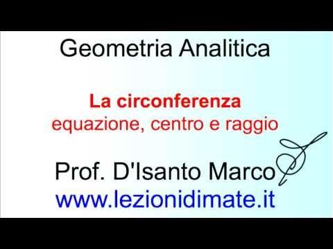 La circonferenza: introduzione e definizioni. Equazione, centro e raggio.