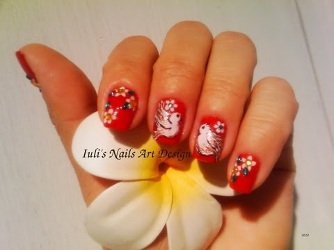 DOVE BIRDS Nail Art Design For Spring Toe and Finger nails
