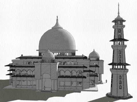 google sketchup 3d models - mosque 3D tour