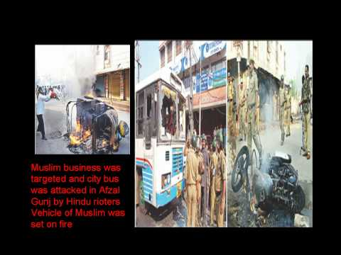 Hyderabad Riots March-2010 Muslim minority attacked by Hindu orgs BJP, RSS,VHP,Bajrang Dal