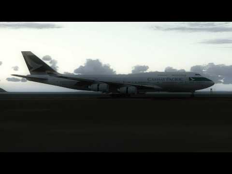 747 Cathay Pacific landing Hong Kong International Airport