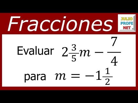 Evaluar una expresión usando fraccionarios