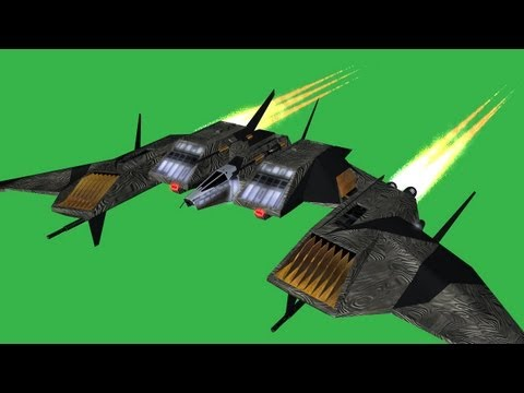spacefighter in flight - green screen effect
