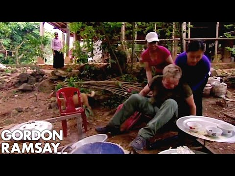 Gordon Ramsay Falls Off A Chair While Making Rice Cakes In Vietnam   Gordon's Great Escape
