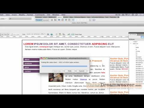 Dreamweaver CS4 CS5 Tutorial Create final CSS web page