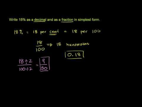 Rappresentare un Numero come Decimale, Percentuale e Frazione