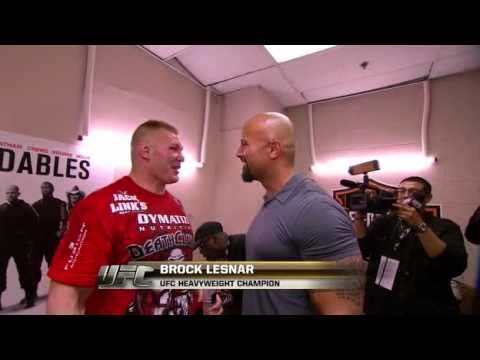 ufc brock Lesnar and the rock hug