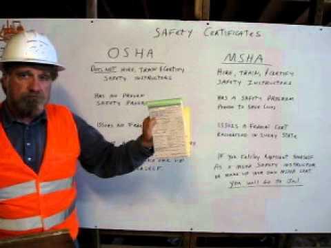 OSHA and MSHA  Safety Certificates