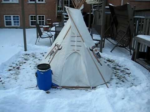Winter camping in my miniature Sioux tipi