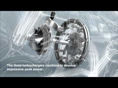BMW tri-turbo diesel engine animation - M550d xDrive