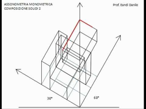 Assonometria monometrica composizione solidi 2
