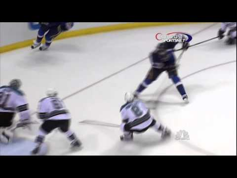 David Backes goal. San Jose Sharks vs St. Louis Blues 4/14/12 NHL Hockey