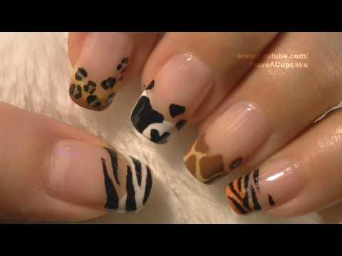 Animal Prints Nail Art Tutorial / Arte para las uñas con dibujos de manchas de animales