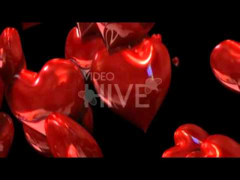 3D Heart Particles Loop with Alpha Full HD