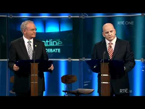 Sean Gallagher challenged by Martin McGuinness on RTE Frontline Presidential Debate