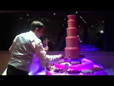 Pink chocolate fountain - YouTube