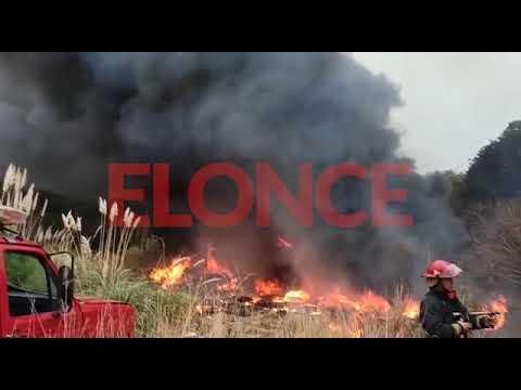Bomberos apagaron incendio de pastizales en el Acceso Norte