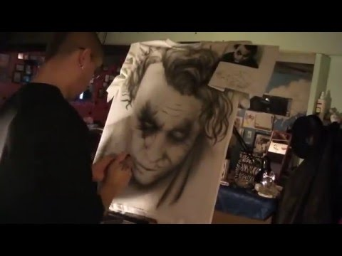 timelapse airbrushing Joker from dark knight